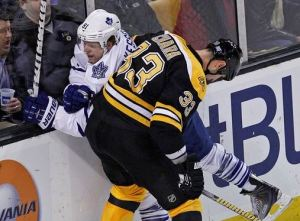 There's got to be a better way: Zdeno Chara presents a huge matchup problem for Leafs' best scorer Phil Kessel.