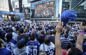 Thousands of Leafs fans gathered in Maple Leafs Square for the first home playoff game in nine years.